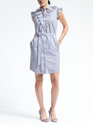 Ruffle Neck Poplin Shirtdress $98 thestylecure.com