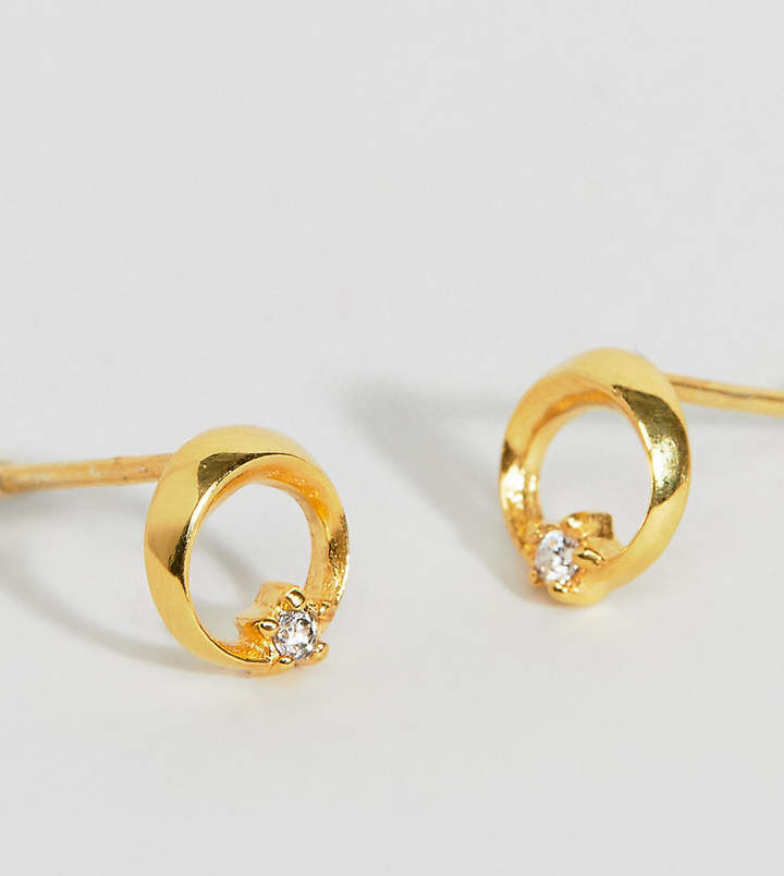 ASOS DESIGN Sterling silver with gold plate stud earrings in crystal circle and star detail