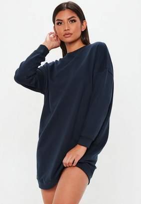 Missguided Navy Oversized Plain Sweater Dress, Navy