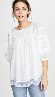 Clu Lace Contrast Blouse with Puff Sleeves