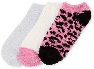 Ellen Tracy 3-Pack Leopard Print Cozy Ankle Socks