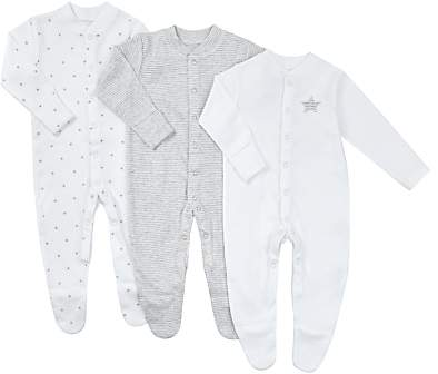 Stars Long Sleeve Organic GOTS Cotton Sleepsuit, Pack of 3, Grey/White