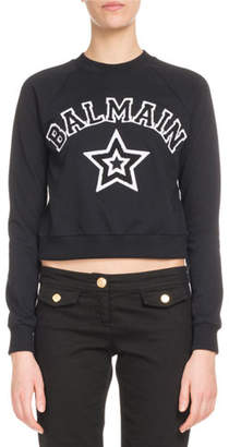 Balmain Long-Sleeve Logo Star Crop Jersey Sweatshirt