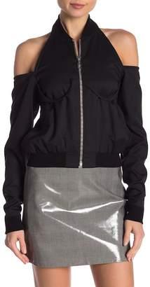 Helmut Lang Cold Shoulder Wool Bomber Jacket