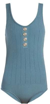 Balmain Knit Bodysuit - Womens - Blue