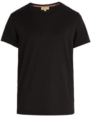 Burberry Logo Embroidered Cotton T Shirt - Mens - Black
