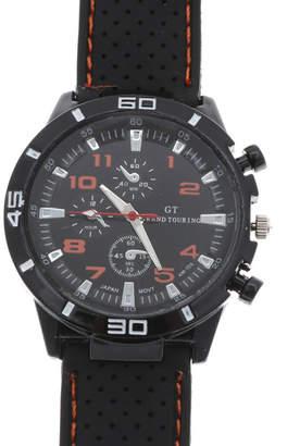 スマイルプロジェクト SMILE PROJECT アクセントカラーが目を引く ラバーベルトミリタリー調の腕時計 AV028-ORN