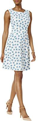 Nine West Women's Pattern Dress W/Waist Inset Detail