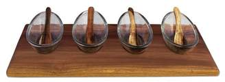 BE HOME Natural Acacia & Glass Serving Dish