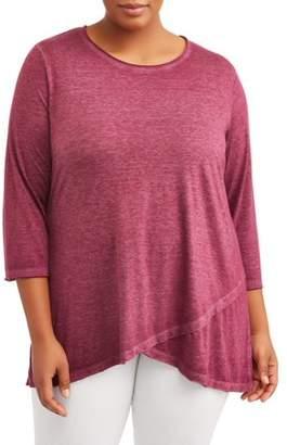 Como Blu Women's Plus Size Burnout Crossover Tunic