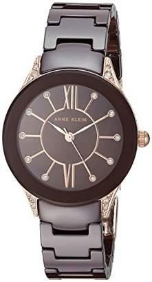 Anne Klein Women's AK/2388RGBN Swarovski Crystal Accented Rose Gold-Tone and Brown Ceramic Bracelet Watch
