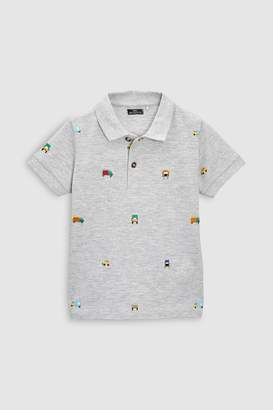 Next Boys Grey Embroidered Short Sleeve Polo (3mths-6yrs)