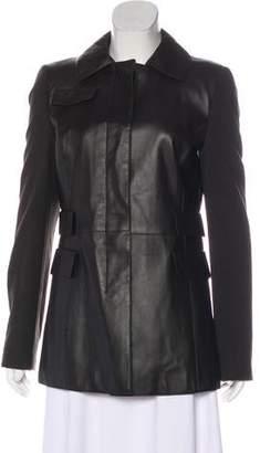 Akris Punto Short Leather Coat