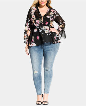 City Chic Trendy Plus Size Empire-Waist Bell-Sleeve Top
