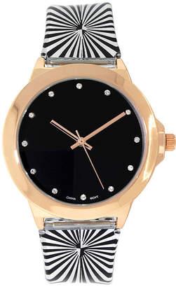 FASHION WATCHES Womens Rose Gold-Tone Stripe Strap Watch