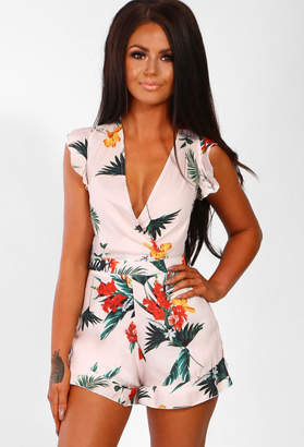 Pink Boutique You Wish Nude Tropical Print Frill Wrap Playsuit