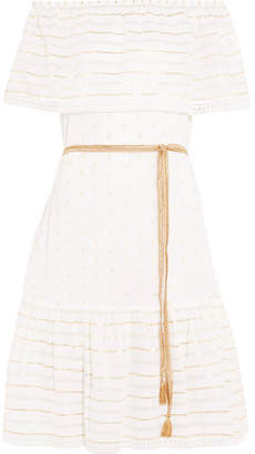 Miguelina Amaya Off-the-shoulder Metallic Cotton-blend Jacquard Dress - White