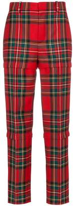 Balenciaga Red wool tartan trousers