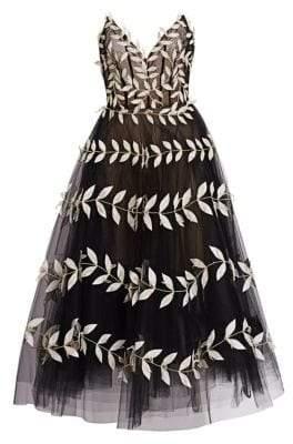 Oscar de la Renta Fern-Embroidered Strapless V-Neck Tulle A-Line Dress