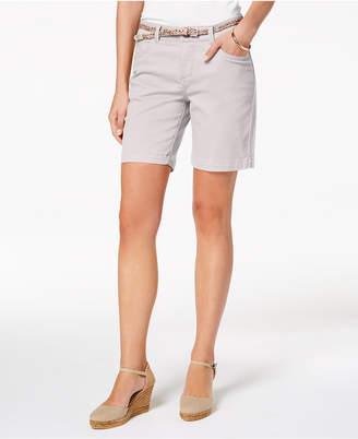 Lee Platinum Petite Belted Stretch Denim Shorts
