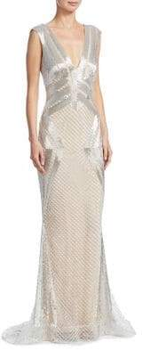 Mikael D Beaded Geometric Gown