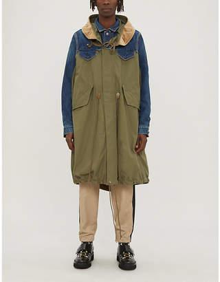 Sacai Cotton-blend and denim hooded parka