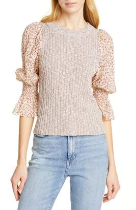 Rebecca Taylor Francesca Mix Media Cotton & Linen Blend Sweater