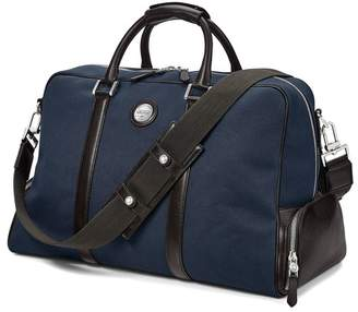 Aspinal of London Aerodrome Long Weekender In Navy Canvas Dark Brown Pebble