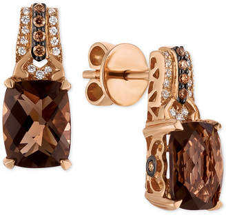 LeVian Le Vian Chocolatier Smoky Quartz (3-3/8 ct. t.w.) and Diamond (1/6 ct. t.w.) Drop Earrings in 14k Rose Gold