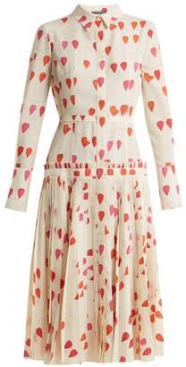 Alexander McQueen Heart Print Button Down Dress - Womens - Ivory Multi