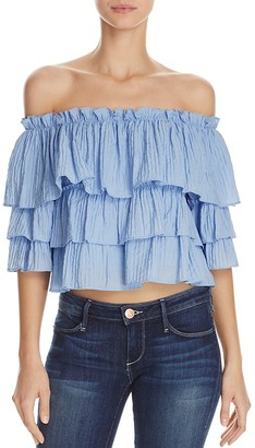 AQUA Ruffle Layered Off-The-Shoulder Top - 100% Exclusive $58 thestylecure.com