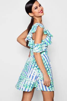 boohoo Ruffle Stripe Shoulder Skater Dress