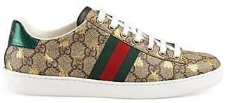 Gucci Women's New Ace Canvas Sneakers - Beige, Tan