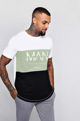 boohoo Colour Block MAN T-Shirt With Curved Hem