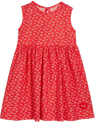 Smiling Button Little Red Bow Print Sleeveless Dress, Size 0m-10