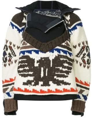 Sacai eagle knit hooded jacket