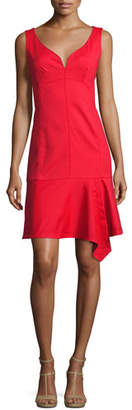Nanette Lepore Sparkler Sleeveless Stretch Poplin Flounce Dress, Cherry Red