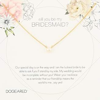 Dogeared Will You Be My Bridesmaid Flower Card Small Button White Pearl Chain Necklace