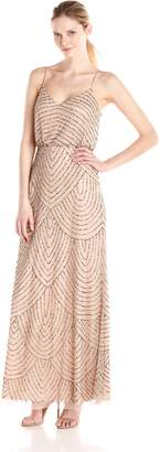 Adrianna Papell Women's Long Blouson Dress, Taupe/Pink