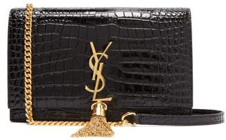 Saint Laurent Kate Crocodile Effect Leather Cross Body Bag - Womens - Black