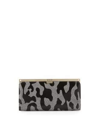 Jimmy Choo Camille Leopard Patent Glitter Clutch Bag, Gray/Black