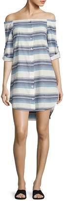 Bella Dahl Women's Off-the-Shoulder Striped Shirt Dress