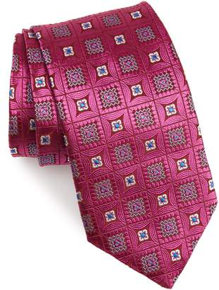 David Donahue Medallion Silk X-Long Tie
