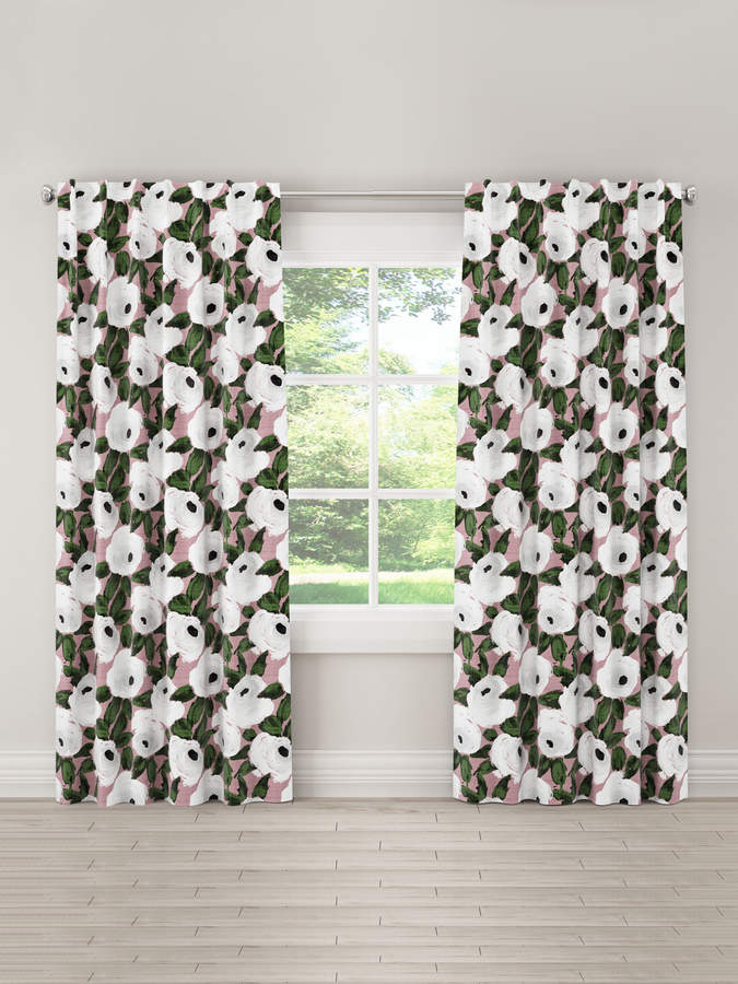 Watercolor Floral Unlined Linen Curtain