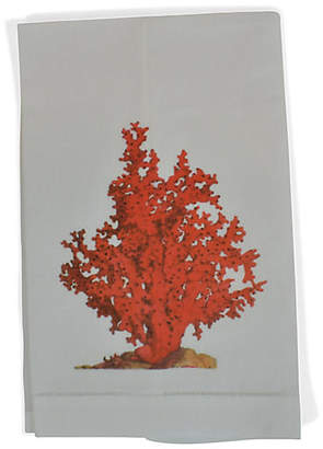 Red Coral Guest Towel - White - The French Bee