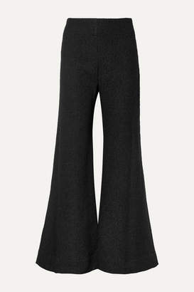 Deitas Venus Wool-blend Bouclé Flared Pants - Black