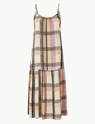 Marks and Spencer Checked Midi Slip Dress