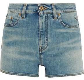 Roberto Cavalli Faded Mid-Rise Denim Shorts