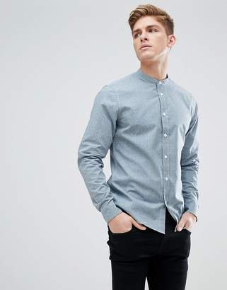 Solid Grandad Collar Shirt With Dot Print