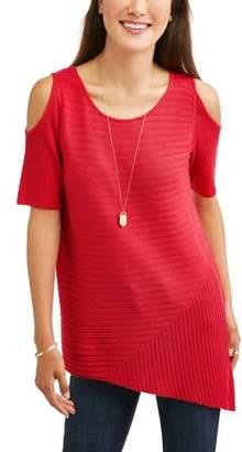 N. Heart Crush Women's Cold Shoulder Asymmetrical Hem Sweater
